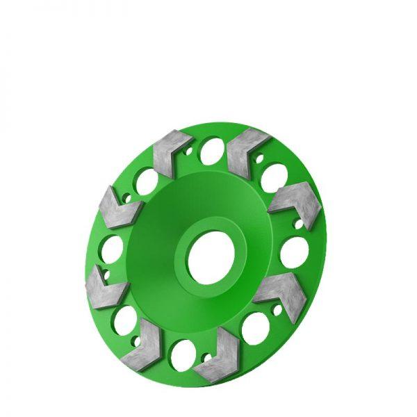 Schleifscheibe grün 125 mm mit Pfeilsegmenten