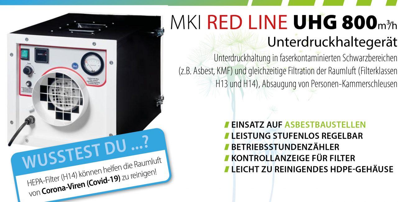 MKI RED LINE 800m³/h Unterdruckhaltegerät